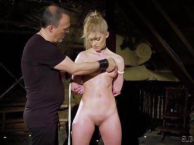 Tied up teen slave screaming in pain bondage and BDSM sex