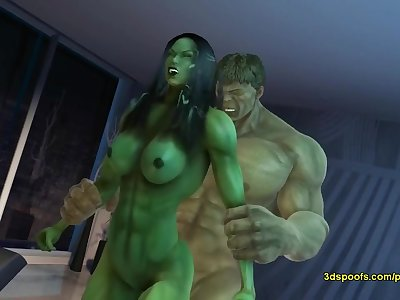 Female Hulk in Injustice have sex
