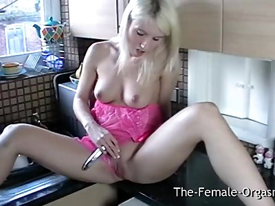 Sexy Blonde Coed Masturbating her Wet Pussy in the Kitchen