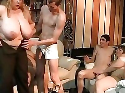 Big ash-blonde rides and sucks cock at party