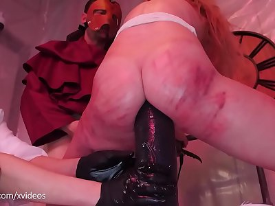 Big ass blond submissive Rebel Rhyder gets asshole wrecked with meaty dildo by brutal femdoms Nurse Holl and Goth Charlotte (brutal anal, ATM, gangbang)