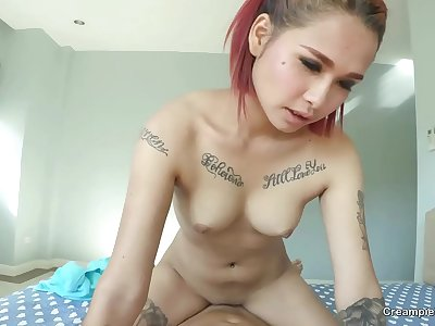 Tatted Thai girl with perfect pink cootchie