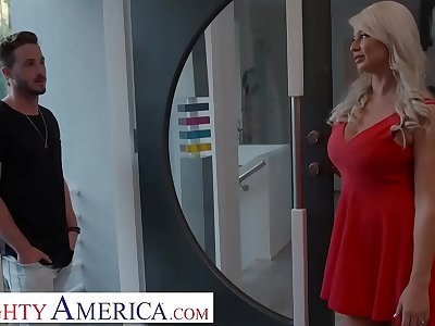 Naughty America London Sea fucks son's friend before interview