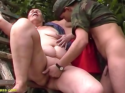 ugly huge 80 years elderly mom first outdoor threesome