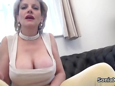 Cheating british mature lady sonia shows off her huge tits