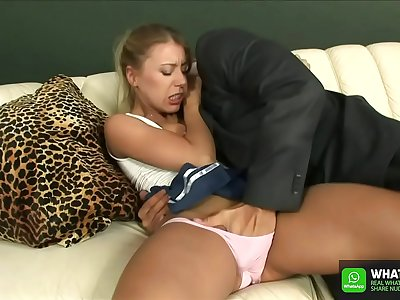 Hot franciase / french  daughter visit here stepdad in vacation and hot spyed under shower family - Daughter give long blowjob and daddy finger here perfect pussy with Nikki Thorne