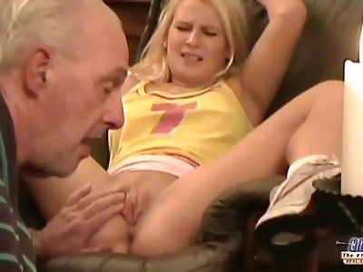 Old man forcing young blondie to sex