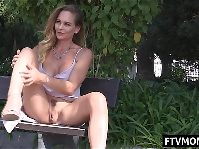 milf upskirt and getting off in public