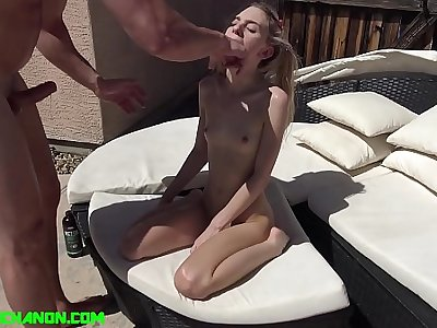 Tiny Pigtailed Spinner Chanel Shortcake Face Fucked & Fucked Hard by the Pool