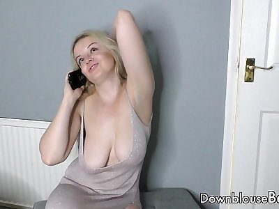 British babes topless on the phone Down blouse