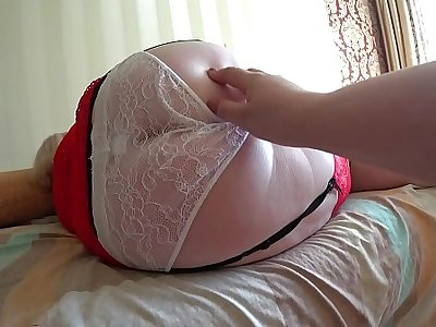 Girlfriend fucked mature milf with fat ass in white panties. Lezzies POV.